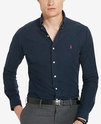 Polo Ralph Lauren Men's Garment-Dyed Oxford Shirt - Casual Button ...
