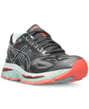 ASICS Women'S Gel-Nimbus 19 Running Sneakers From Finish Line in Carbon/White/Flash Coral