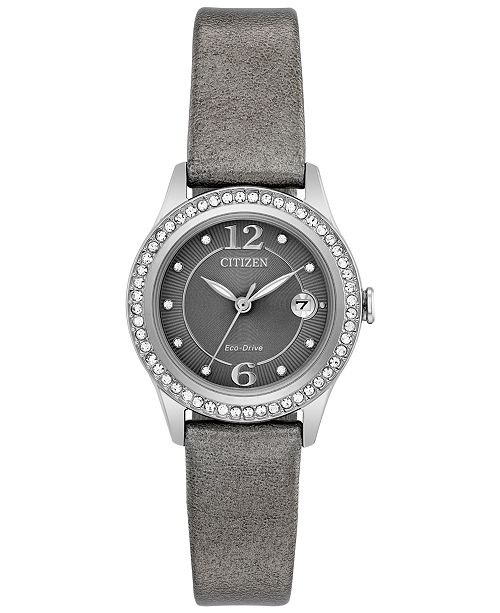 Citizen Eco-Drive Women's Silhouette Crystal Jewelry Gray Leather Strap Watch 29mm FE1120-08X, A Macy's Exclusive