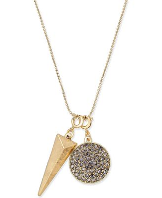 INC International Concepts Gold-Tone Pavé Charm Pendant Necklace, Only at Macy's
