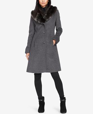 Lauren Ralph Lauren Faux-Fur-Collar Walker Coat, Created ...
