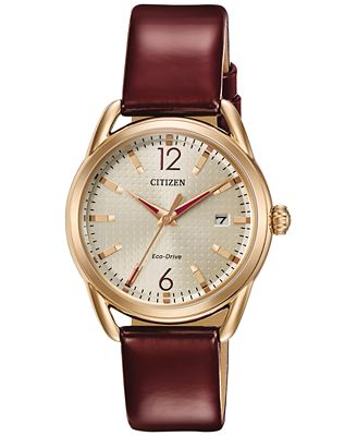 Citizen Drive from Citizen Eco-Drive Women's Burgundy Leather Strap Watch 34mm FE6083-05P