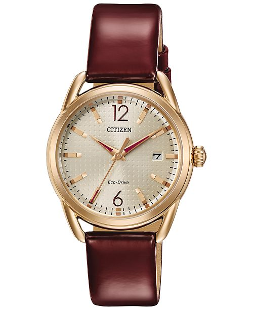... Citizen Drive from Citizen Eco-Drive Women s Burgundy Leather Strap  Watch 34mm FE6083- ... 6b07d9f3d0