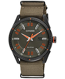 Citizen Drive from Citizen Eco-Drive Men's Khaki Nylon Strap Watch 42mm BM6995-01X