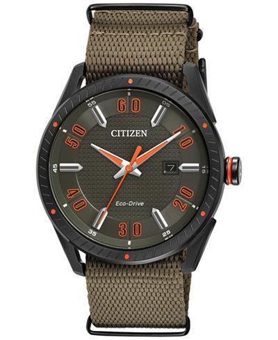 Citizen Drive from Citizen Eco-Drive Men's Khaki Nylon Strap Watch 42mm BM6995-01X