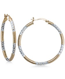 Two-Tone Textured Hoop Earrings in Sterling Silver and 14k Gold-Plate