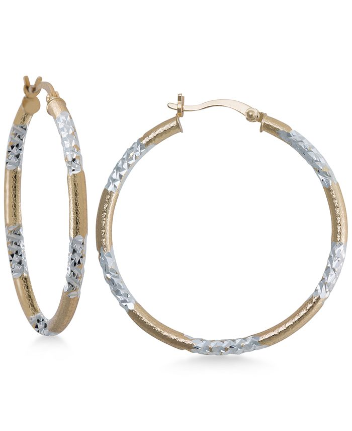 Macy's - Two-Tone Textured Hoop Earrings in Sterling Silver and 14k Gold-Plate