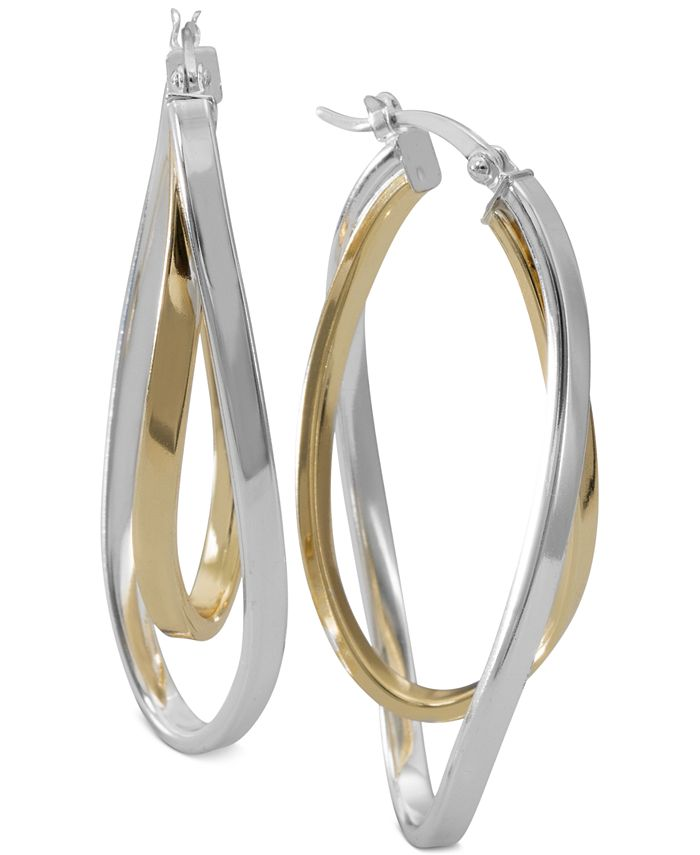 Macy's - Two-Tone Twisted Hoop Earrings in Sterling Silver and 14k Gold-Plate
