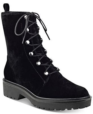 GUESS Women's Weisy Black Velvet Combat Boots - Boots - Shoes - Macy's