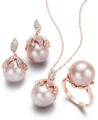 Pink Windsor Cultured Pearl and Diamond Jewelry Collection in 14k