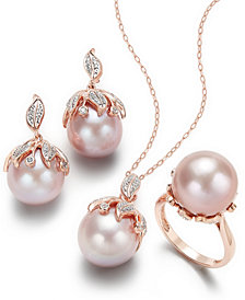 Pink Windsor Cultured Pearl and Diamond Jewelry Collection in 14k Rose Gold