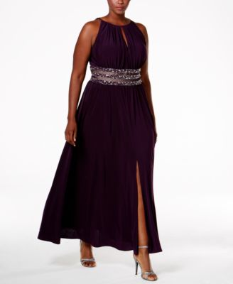 R & M Richards Plus Size Embellished-Waist Dress