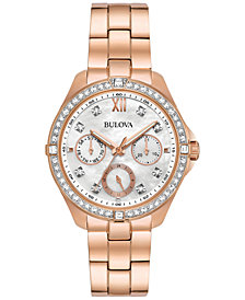 Bulova Women's Rose Gold-Tone Stainless Steel Bracelet Watch 35mm 98N108, Created for Macy's