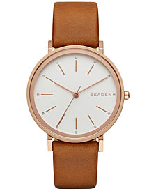 Skagen Women's Hald Light Brown Leather Strap Watch 34mm SKW2488