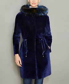 The Fur Vault Fox-Fur-Trim Hooded Shearling Lamb Coat