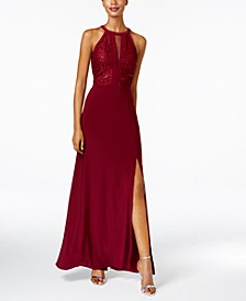 Petite Lace-Trim Illusion Halter Gown