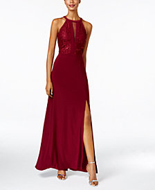 Nightway Petite Lace-Trim Illusion Halter Gown