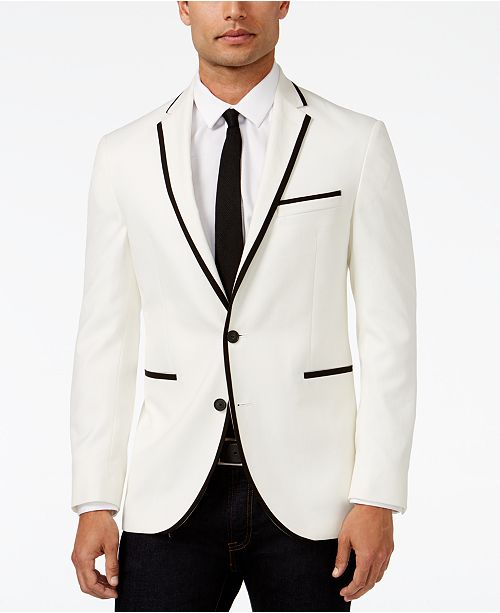 Kenneth Cole Reaction Slim Fit White With Black Trim Dinner Jacket