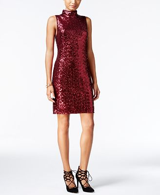 kensie Sequined Mock-Neck Sheath Dress - Dresses - Women - Macy's