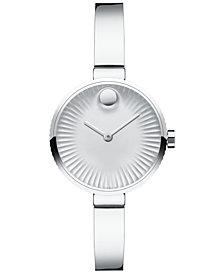 Movado Women's Swiss Edge Stainless Steel Bangle Bracelet Watch 28mm 3680020