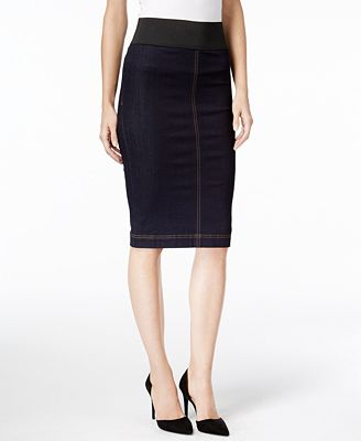 INC International Concepts Denim Pencil Skirt, Only at Macy's