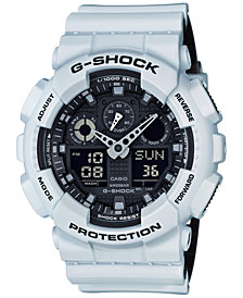 G-Shock Men's Analog-Digital White Resin Strap Watch 51x55mm GA100L-7A