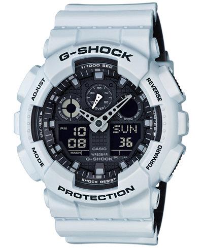 g shock watches macy s g shock men s analog digital white resin strap watch 51x55mm ga100l 7a