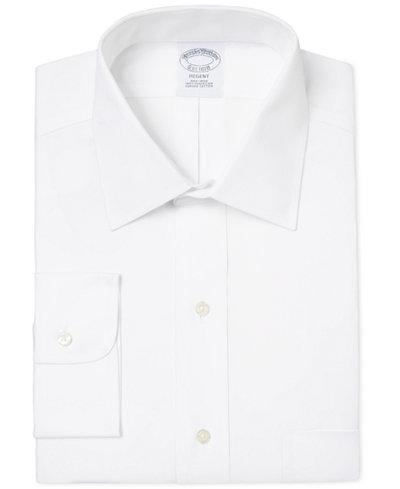 Brooks Brothers Men's Regent Classic-Fit Non-Iron Diamond White Solid Dress Shirt