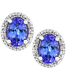 Tanzanite Royale by EFFY® Tanzanite (7/8 ct. t.w.) Diamond (1/8 ct. t.w.) Stud Earrings in 14k White Gold, Created for Macy's