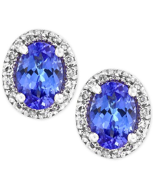 EFFY Collection Tanzanite Royale by EFFY® Tanzanite (7/8 ct. t.w.) Diamond (1/8 ct. t.w.) Stud Earrings in 14k White Gold, Created for Macy's