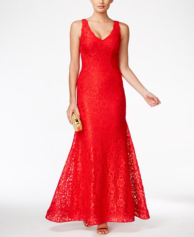 Xscape Lace V-Neck Mermaid Gown