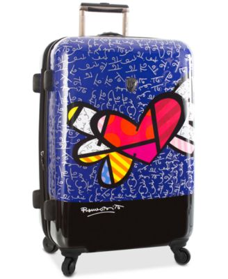 "Britto Heart with Wings 26"" Expandable Hardside Spinner Suitcase"