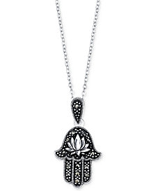Unwritten Silver-Plated Hamsa Lotus Blossom Pendant Necklace
