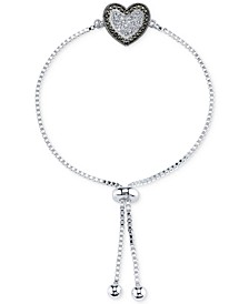 Silver-Plated Marcasite and Crystal Heart Slider Bracelet