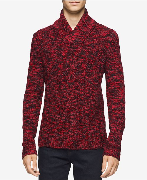 Calvin Klein Men's Asymmetric Cable-Knit Shawl-Collar Sweater, Created for Macy's