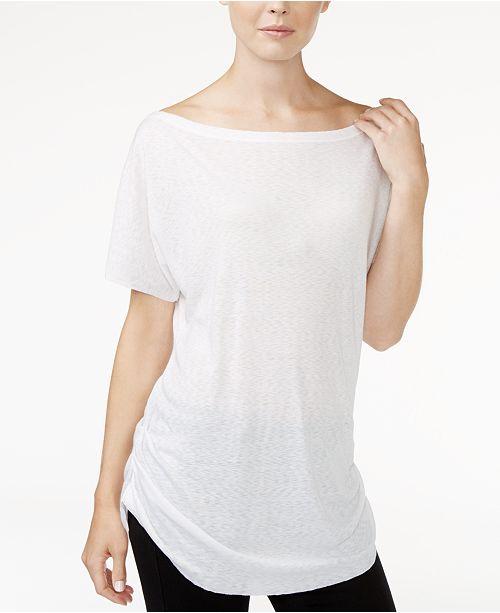 RACHEL Rachel Roy Ruched Boat-Neck T-Shirt, Created for Macy's