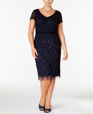 1920s Plus Size Dresses Adrianna Papell Plus Size Embellished Beaded Dress $224.99 AT vintagedancer.com