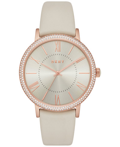 DKNY Women's Willoughby Gray Leather Strap Watch 38mm NY2545