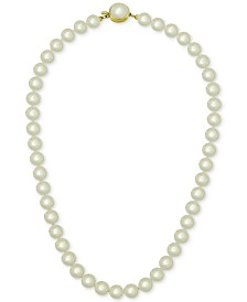 Majorica 18k Gold Vermeil White Imitation Pearl Collar Necklace (10mm)