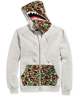 Hudson NYC Men's Full-Zip Camo Shark Hoodie