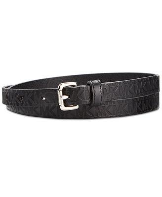 MICHAEL Michael Kors Monogram Embossed Signature Skinny Belt
