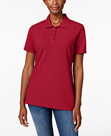 Karen Scott Petite Piqué Cotton Polo Shirt, Created for Macy's