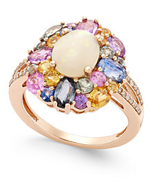 Opal (1 ct. t.w.), Multi-Sapphire (3 ct. t.w.) and Diamond (1/10 ct. t.w.) Ring in 14k Rose Gold