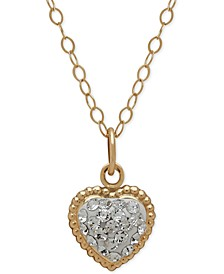 Children's 14k Gold Necklace, Crystal Heart Pendant