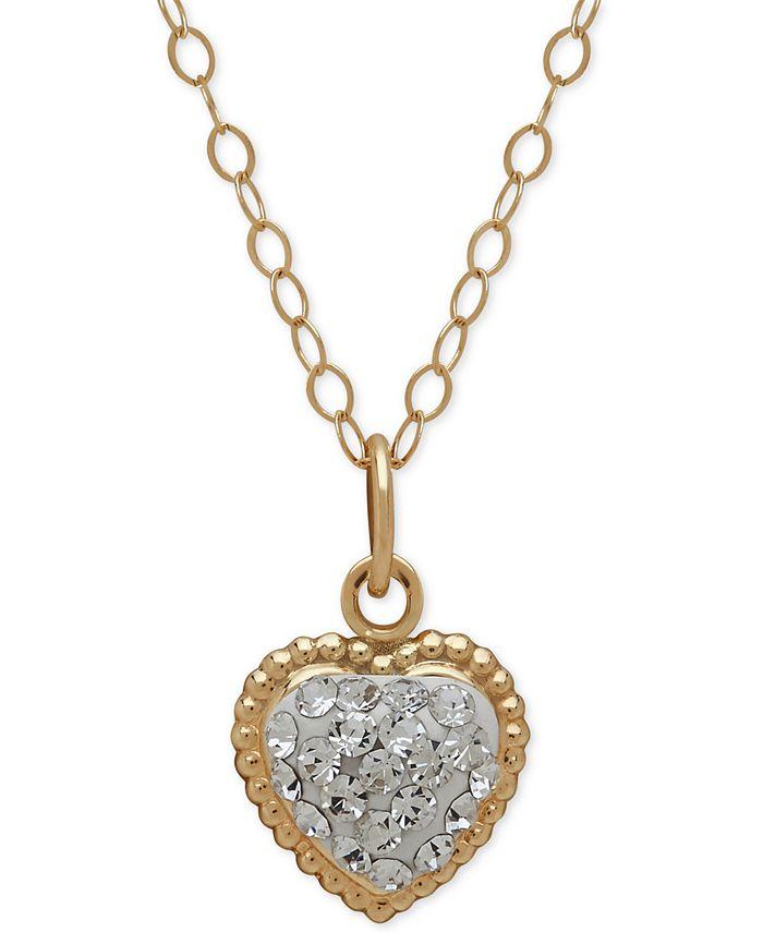 Macy's - 14k Gold Necklace, Crystal Heart Pendant