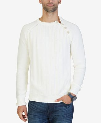 Nautica Men's Shoulder-Button Textured Sweater - Sweaters - Men ...