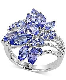 EFFY® Tanzanite Royalé Tanzanite (4 ct. t.w.) and Diamond (1/5 ct. t.w.) Ring in 14k White Gold, Created for Macy's