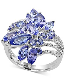 EFFY® Tanzanite Royalé Tanzanite (4 ct. t.w.) and Diamond (1/5 ct. t.w.) Ring in 14k White Gold, Created for Macy's