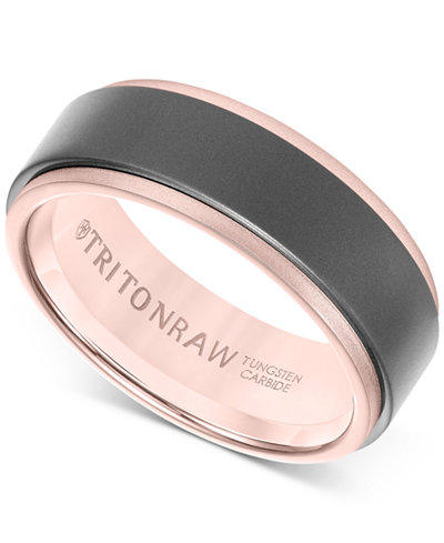Triton Raw Men's Band in Tungsten and 18k White, Yellow or Rose Gold