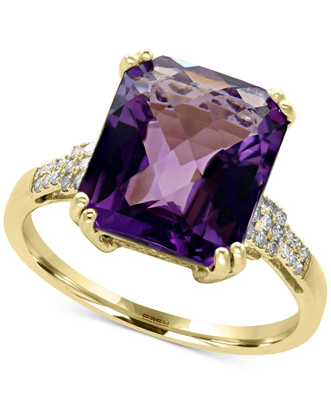 EFFY Collection EFFY® Amethyst (5 ct. t.w.) and Diamond (1/10 ct. t.w.) Ring in 14k Gold